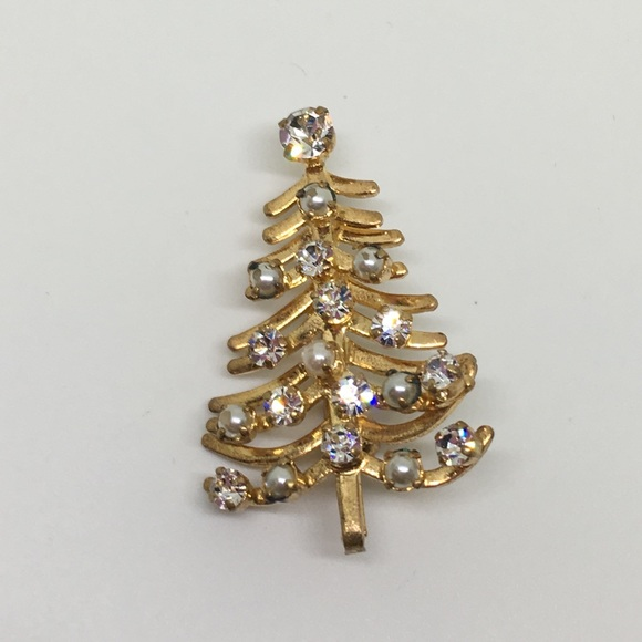 Vintage Jewelry Hold Sharon Christmas Tree Pin Made In Austria