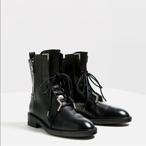 Zara black leather boots- size 7.5