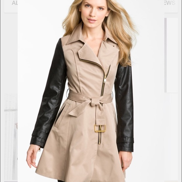 get cheap kid closer at Bebe trench coat with leather sleeves