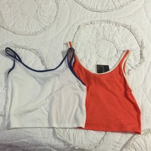 Topshop Orange/White & White/Blue Crop Tanks