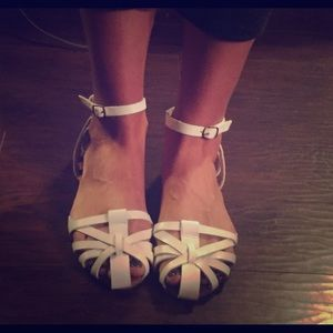White ankle strap flat sandals NWOT