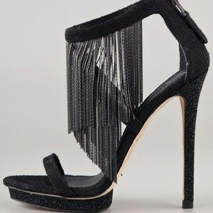 B Brian Atwood Cassiane Metal Fringe Black Sandal