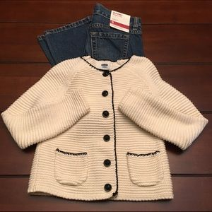 Old Navy Other - Old Navy Cream/Black Cardigan, Size 5T