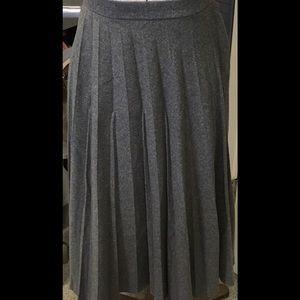 Retro Gray Wool Pleated Skirt