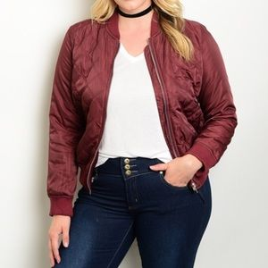 Jackets & Blazers - Burgundy quilted Bomber Jacket