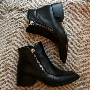 Zara Leather Zipper Ankle Booties