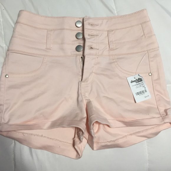50% off Charlotte Russe Pants - Light pink high waisted shorts ...