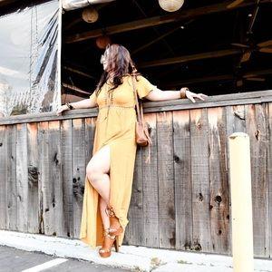 Mustard Laced-Up Maxi Dress