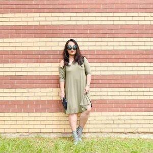 Dresses & Skirts - Olive Green Open Shoulder Swing Dress