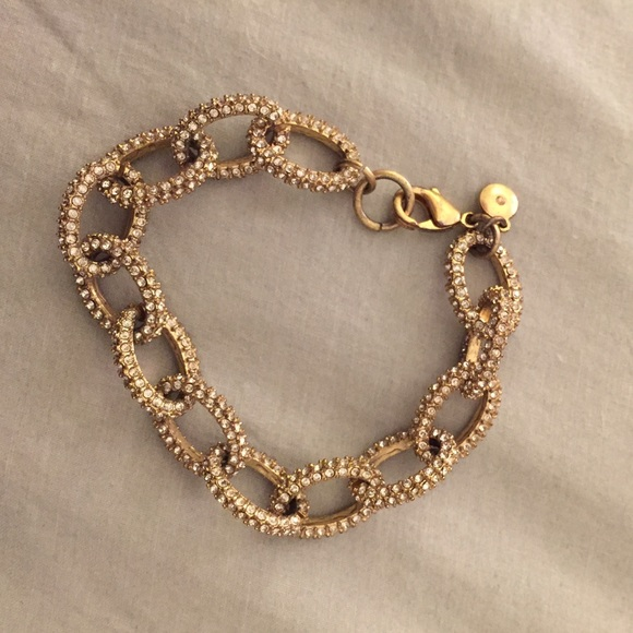 2a3652ae5b0 J. Crew Factory Gold and Crystal Link Bracelet