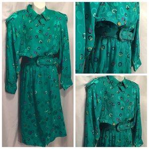 Vintage 80's 100% silk dress 10