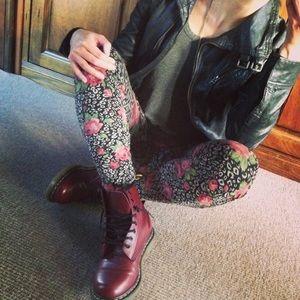 Pants - Floral Leopard Print Leggings