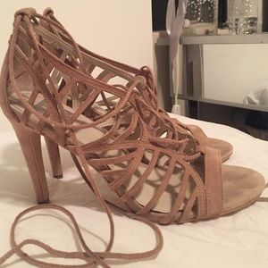 Suede tan lace up heels