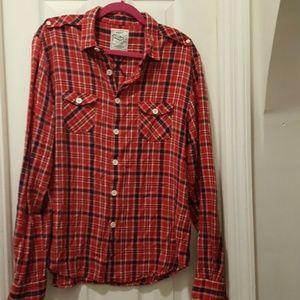 Gant red plaid button long sleeve cotton shirt