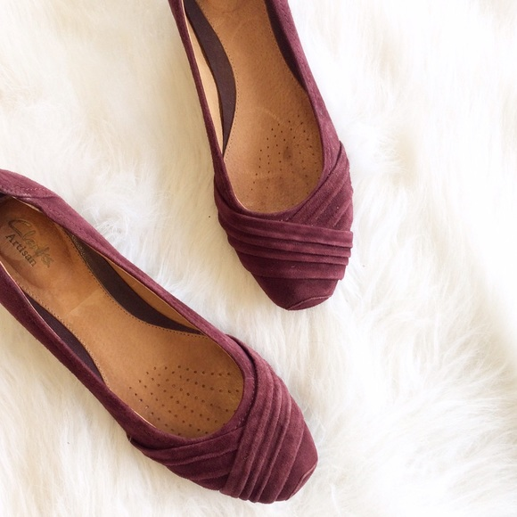80b1dc3ec8e Clarks Shoes - Clarks Wine colored Suede Wedges