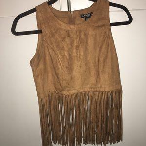 Joe & Elle Tops - fringed brown top Size: small/medium