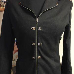 NEW black denim embellished St John blazer -P