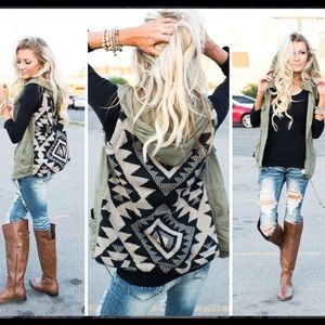 💕JUST ARRIVED💕Olive Tribal Sweater Back Vest🎀