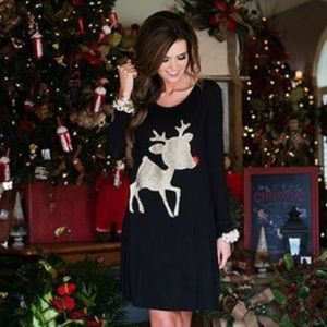 JUST IN🎉❤️Gold Reindeer Holiday Tunic Dress❤️
