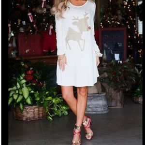 🎉HOLIDAY🎉Gold Reindeer Holiday Tunic Dress