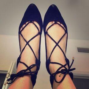 Ballerina real leather suede nubuk black 8.5 flat