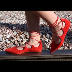 Ballerina real leather suede nubuk red 8.5 flat