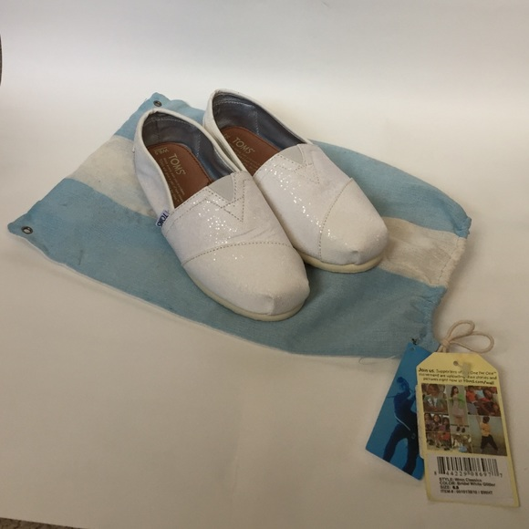 4fb8aaef6644 TOMS Shoes | White Shimmer Classics | Poshmark
