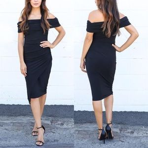 Asymmetrical dress in black