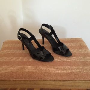 Banana Republic Black Patent Open-Toe Heels