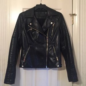 {Zara} faux leather moto jacket