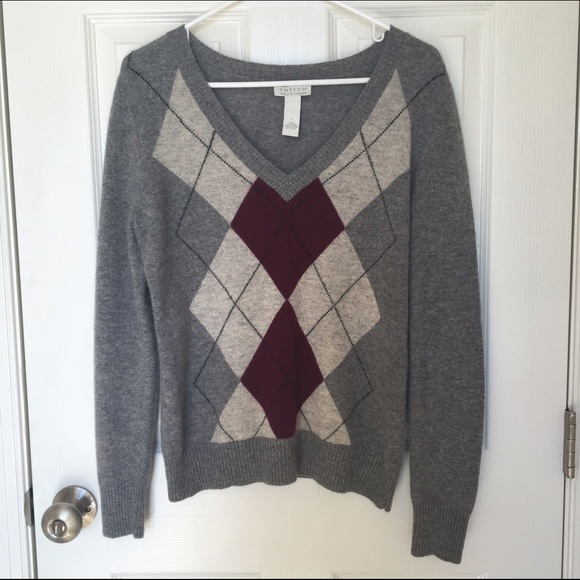 tweeds - Tweeds 100% Cashmere Argyle Sweater Large from Chi's ...