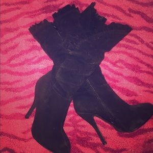 Shoes - Black, suede-like, ruffle knee high boots Sz 9