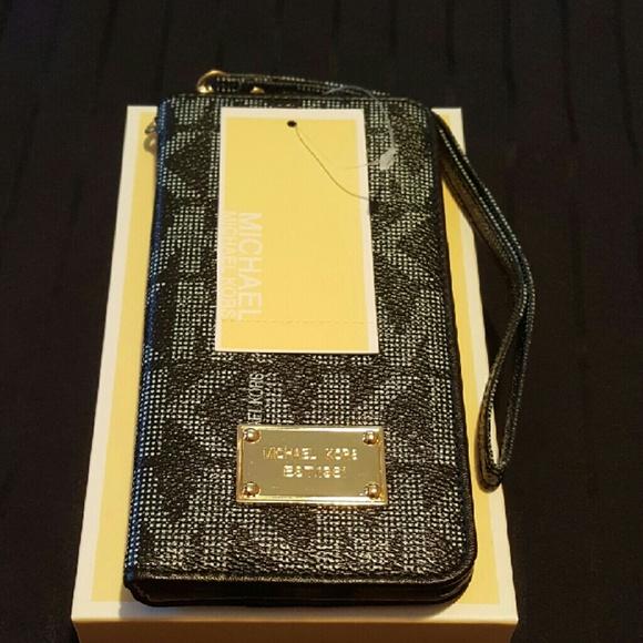 9d4c2293a2a6 Michael Kors Accessories | Mk Black Iphone 6 Plus 6s Plus Wallet ...