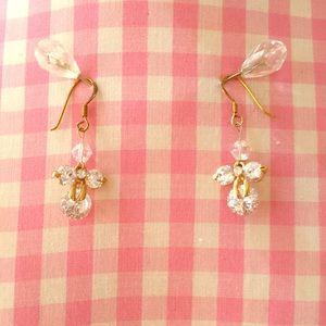Jewelry - Gold & Rhinestone Dangly Angel Earrings