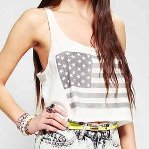 American Flag Crop Tank Urban Outfitters  Like New