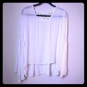 Mine Too Tops - MINE TOO White Bat Wing Loose  Comfortable Top