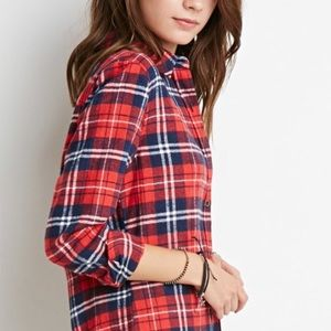 Boutique Tops - Trendy Red Plaid Flannel Shirt S M