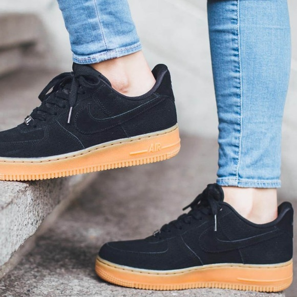 pretty nice 5ed11 7c7f5 black suede Nike Air Force 1 with gum soles. M 57fbd9c67f0a055fc103637b