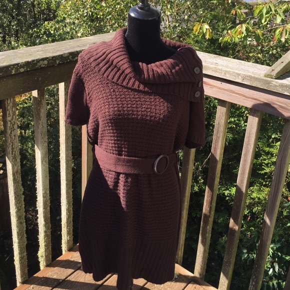 Extra Touch Sweaters Womens Chocolate Brown Cowl Neck Sweater