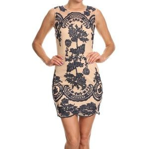 Nude Mesh w/navy embroidered detail dress