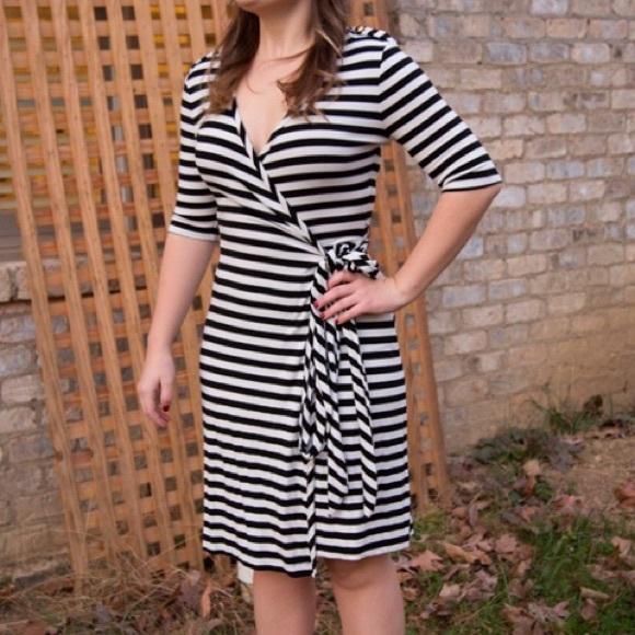 Banana Republic Dresses   Skirts - Classic Black + White Stripe Wrap Dress 667d8f874