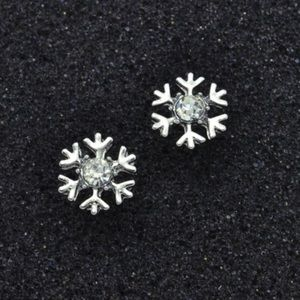 5 for $25 Silver Toned Snowflake Stud Earrings