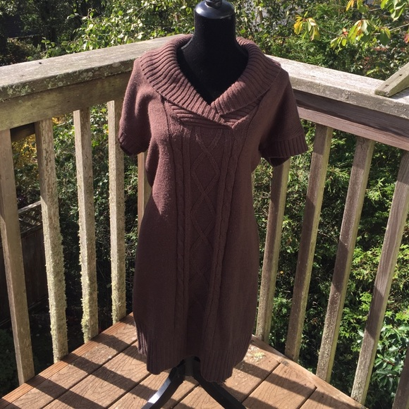 Connected Apparel Sweaters Womens Chocolate Brown Sweater Dress