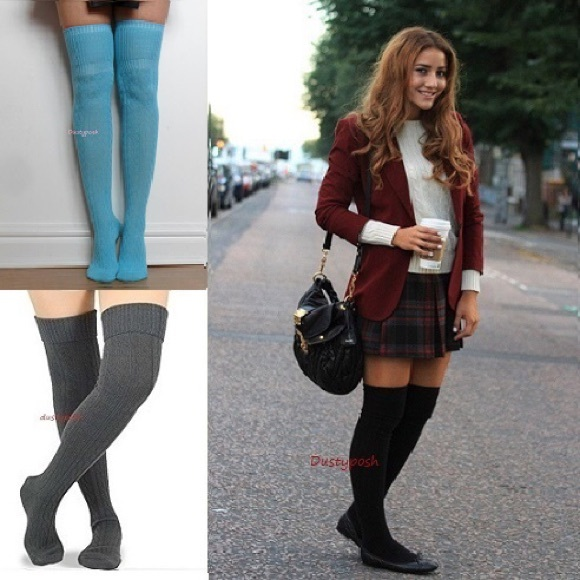 ea1b65ff9 HUE Accessories | Cable Knit Thigh High Over The Knee Socks Cuff Otk ...