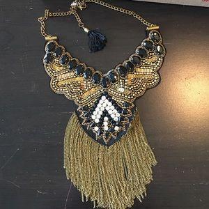 Jewelry - Statement Necklace Black / Gold W/ Rhinestones