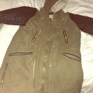 H&M Cargo Jacket w/ Faux Leather Sleeves and hood