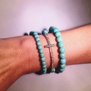 Jewelry - Boho Turquoise Beaded & Pavé Cross Bracelet