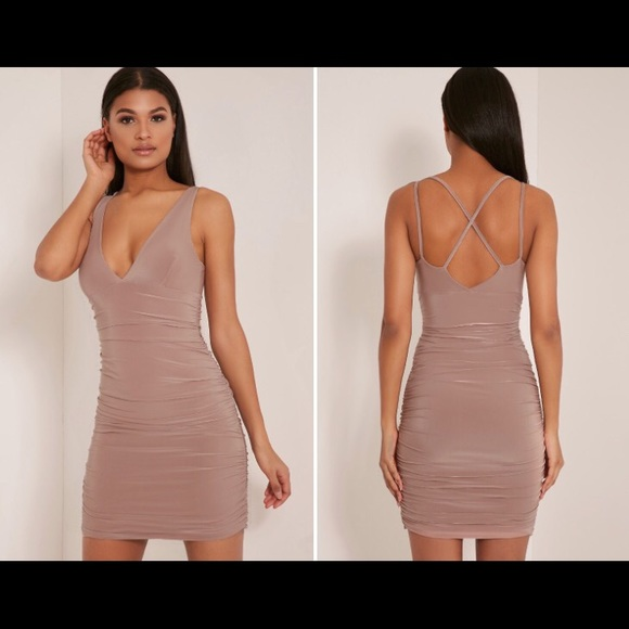 Agness Black Cross Back Ruched Bodycon Dress Pretty Little Thing ABtunI