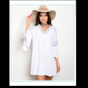 White embroidered tunic/dress