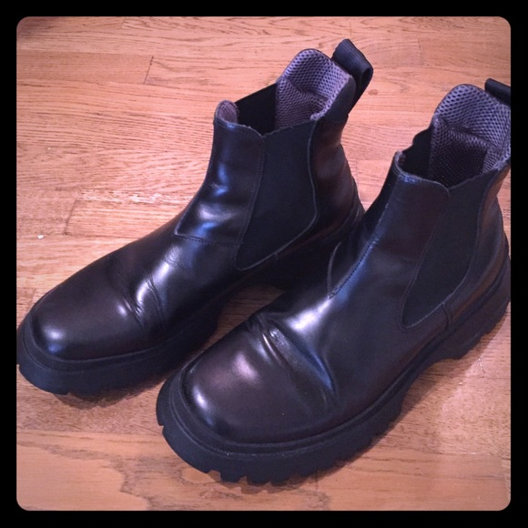 Mens Wedge-Sole Leather Chelsea Boots Prada Free Shipping New Arrival mM0Lu